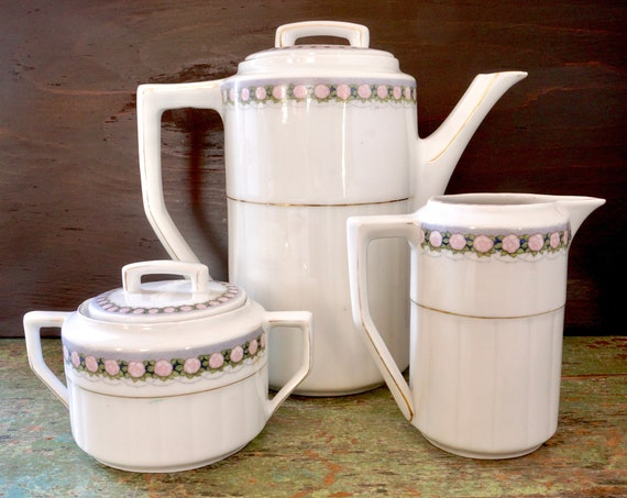 Vintage Art Nouveau Coffee pot Creamer Sugar Bowl Set 20s White Porcelain Pale Pink Rose Grey Gold Band Tall Teapot Serving Set Marked Schol
