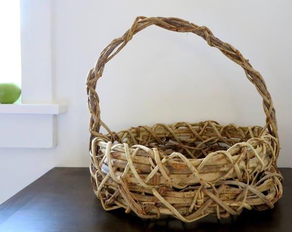 Rustic Grapevine Easter Basket Vintage Large Handmade Bentwood Woven Basket Twig Handle