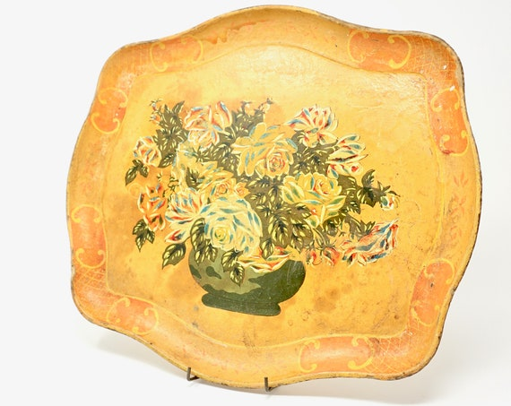 Vintage Tray Paper Maché Floral Serving Tray 1950s Florentine Style Rectangular Tray Brown Hand Painted Vase of Roses Japan Alcohol Proof