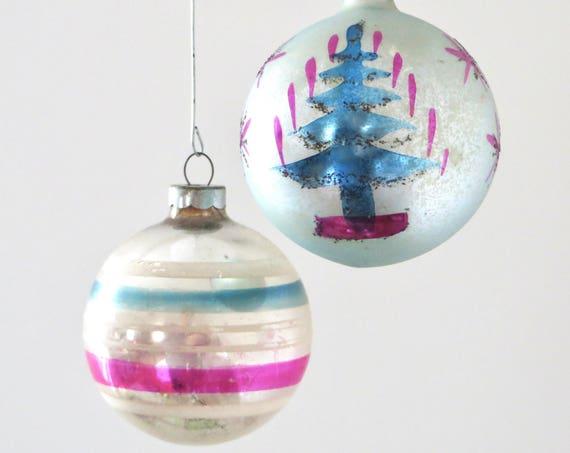 Vintage Christmas Ball Set Pink Aqua 1930s Painted Polish Tree Ball Stripe Silvered Ball Ornament