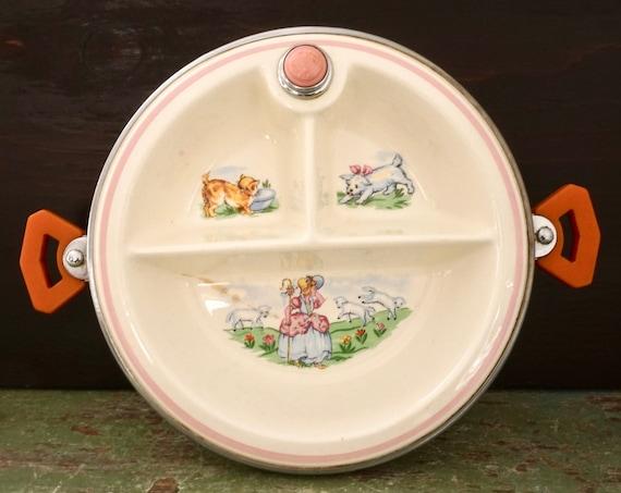 Vintage Baby Bowl 40s Little Bo Peep Divided Babies Dish Warming Bartsch Chrome Ceramic Off White Orange Bakelite Handles Knob Nursery Rhyme