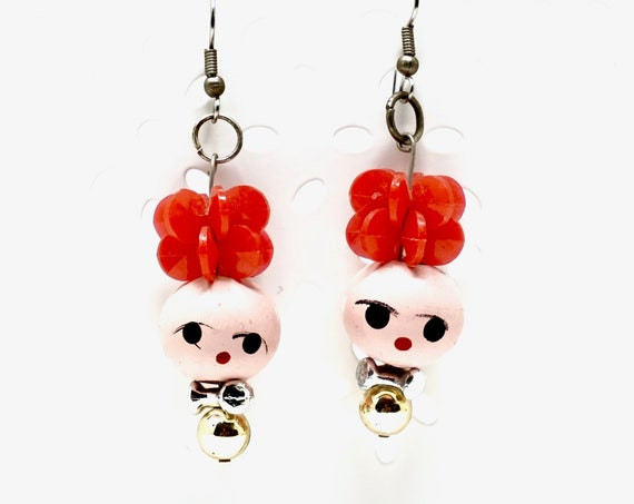 Vintage Doll Head Earrings Wood Bead Heads with Hand Painted Faces Plastic Gold Silver Beads Red Flower Beads Kitsch Handmade Dangle Earring