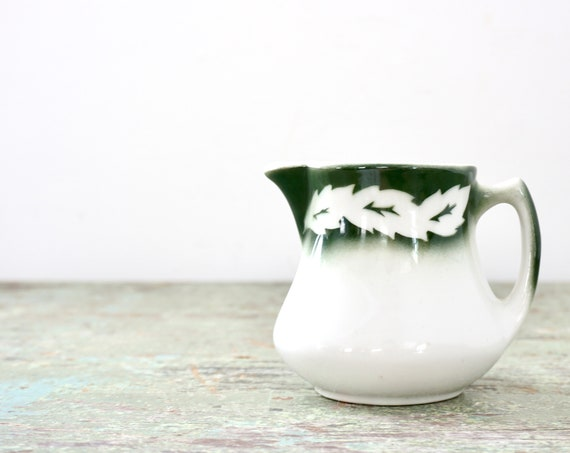 Vintage Restaurant Ware Creamer Green Leaves Airbrushed White China by Jackson China, Falls Creek PA Small Personal Pitcher Hunter Off White