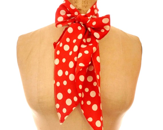 Vintage Scarf Red Polka Dot Off White Crimson Long Silk Scarf Dots Print Retro Rockabilly Pin Up Perfect As Head Scarf Headband Scarf Belt