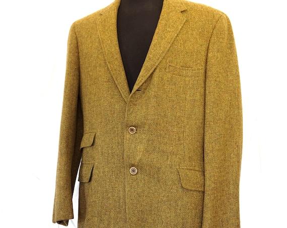 Vintage Blazer Green Chartreuse Men's Suit Jacket Wool Hart Schaffner & Marx Wallachs Pure Virgin Wool Woven in Ireland 1960s Sports Coat