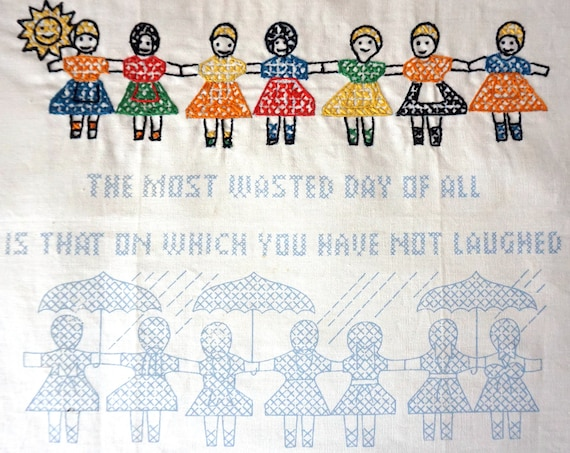 Vintage Cross Stitch Unfinished Girls Holding Hands Positivity Inspirational Saying Laughter Wall Sign 1970s Columbia Minerva Erica Wilson