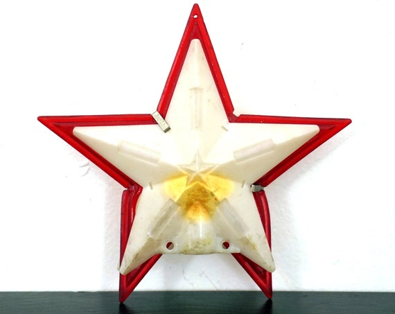 Vintage Star Celluloid Tree Topper 1950s White Red Star Bulb Cover For Top Of Christmas Tree No Wiring As Is 3 Dimensional Hollow Plastic