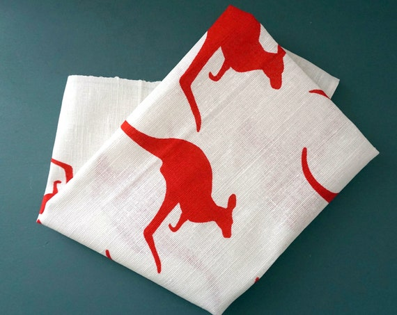 Vintage Kangaroo Tea Towel Red Printed White Linen Designed in Australia By Heil Printed In Poland Unused Original Label Royal National Park