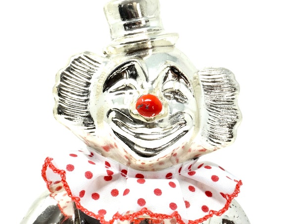 Vintage Clown Bank Silver Tone Metal Coin Bank Creepy Clown Red Nosed Made In Japan 1980s Kitsch Money Saving Piggy bank Circus Themed Gift