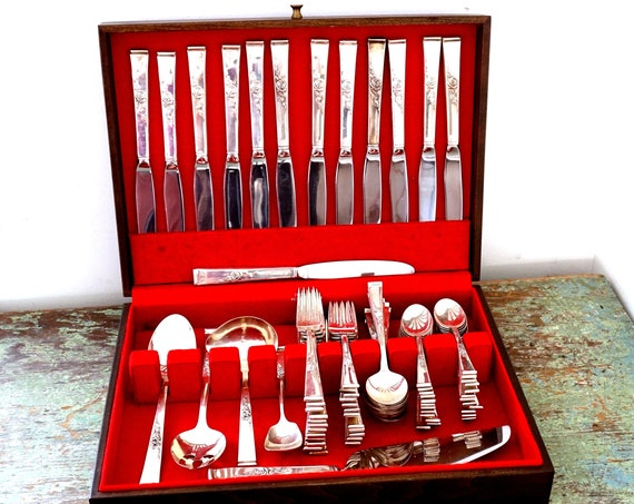 Vintage Silverware 50s Reed and Barton Classic Rose Sterling Silver Set Utensil 78 Piece 12 Place Settings Stainless Cake Server Sugar Spoon