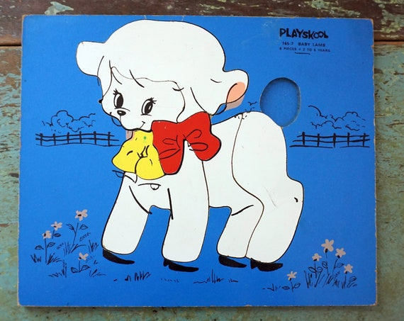 Vintage Wood Puzzle 60s Playskool Lamb Illustration Puzzle Blue Background Nursery Rhymes Mary Had a Little Lamb Board Puzzle Missing Pieces