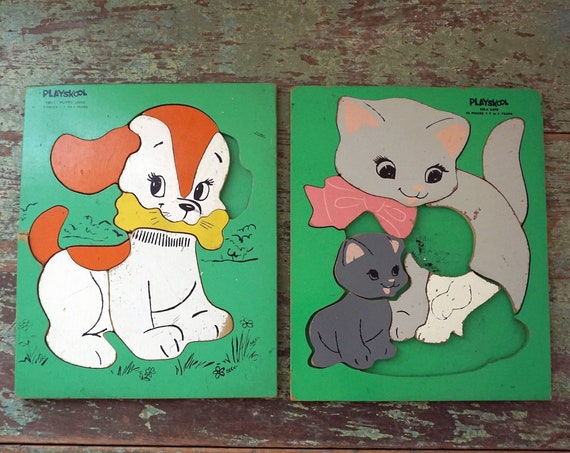 Vintage Wood Puzzles 1960s Playskool Puppy Illustration Puzzle Cat With Kittens Painted Green Board Puzzle Preschool Toys Missing Pieces