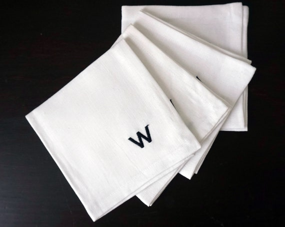Vintage Monogrammed W Cocktail Napkins Black Embroidered Letter W On White Linen Small Square Cloth Drink Napkins Set of 4