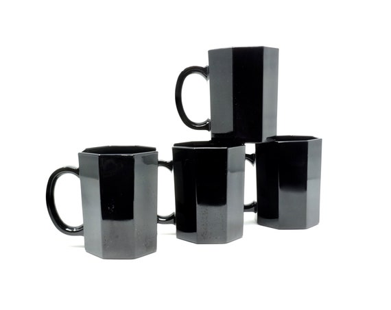Vintage Mugs Black Glass Arcoroc France Glass Octime Set of 4 Handled Coffee Cups Octagonal Shaped Contemporary 80s Opaque Glass Dinnerware