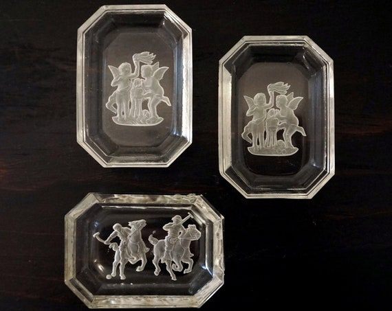 Vintage Czech Salt Cellars Cherubs & Polo Design Etched Clear Glass Tiny Dishes 30s Heinrich Hoffman Intaglio Glass Crystal Oblong Octagons