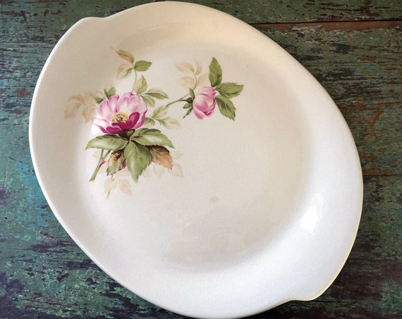 Vintage Platter Pink Rose Floral Oval Plate Asymmetrical Serving Dish by Glamour Briar Rose Pattern American Limoges China Co 50s Dinnerware