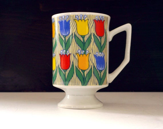 Vintage Tulips Mug Pedestal Shape White Porcelain Mug Footed Printed Rainbow Color Tulip Blossoms Green Leaves Stripes 1970s Pop Art Mug