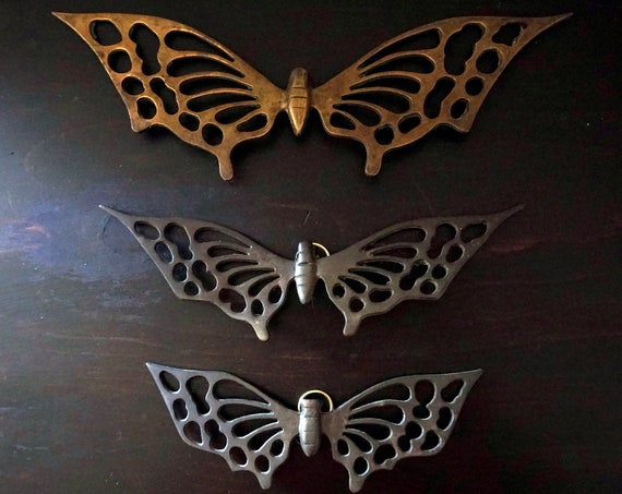 Vintage Brass Butterflies Wall Hanging Set of 3 Sizes Cut Out Metal Butterfly Graduated Sizes Family Dad Mom Baby Wall Decor 1970s Monarchs