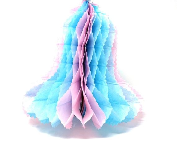 Vintage Bridal Shower Decor Honeycomb Bell Tissue Paper Wedding Shower 80s Pastel Pink Blue Wedding Bell Hanging Decoration 3D Folded Paper