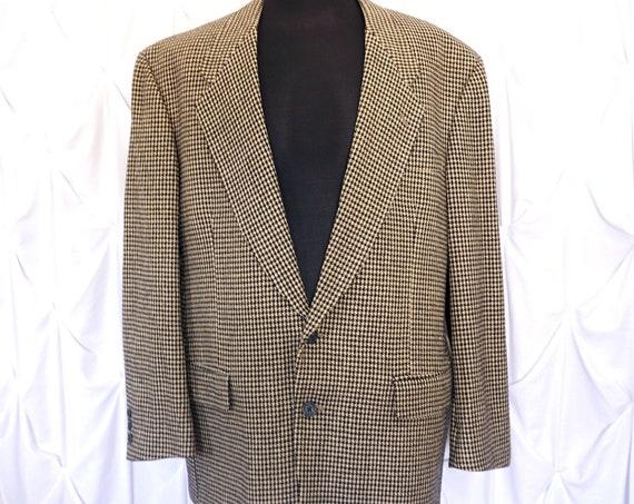 Vintage Houndstooth Blazer Givenchy Monsieur 1980s Sports Jacket Beige and Black Suit jacket