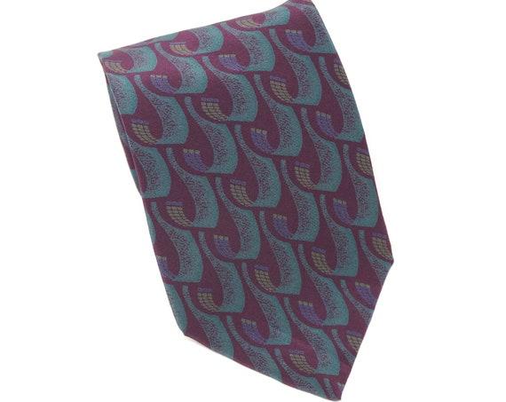 Vintage Tie Teal Purple Silk Necktie Abstracted Letter J Pattern Men's Tie Mallory & Church London Made in Costa Rica Menswear J Monogram