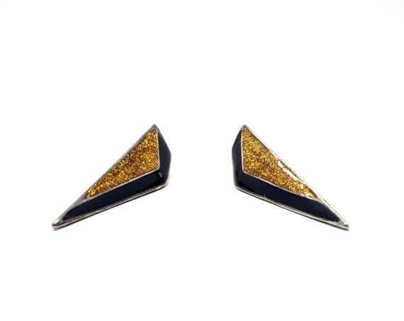 Vintage Earrings Triangles Striped Black Gold Glitter Enameled 1980s Earrings Post Back Angular Modern Dagger Shape Earring Jewelry by Monet