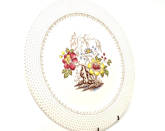 """Vintage Round Platter Chippendale by Royal China  1950s Off White Large Dish Burgundy Yellow Floral Weeping Willow Brown Dots 12"""" Chop Plate"""