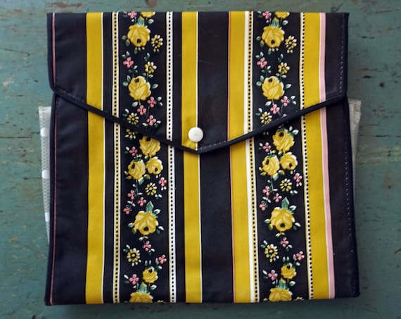 Vintage Organizer Oilcloth Bag Black Stripes Yellow Roses Fold-Over Snap Top Accordion Pocket White Polka Dot Pink Interior Western Germany