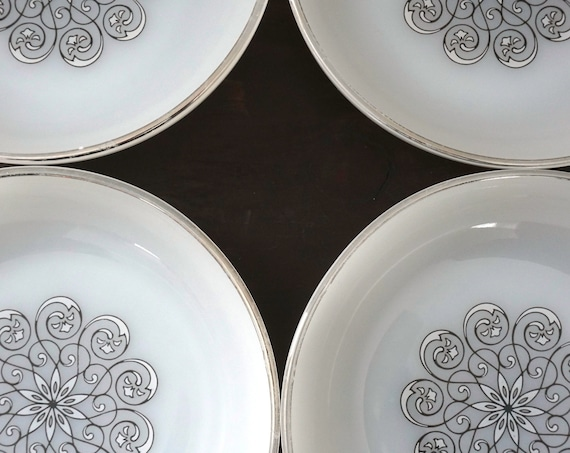 Vintage Fire King Anchor Hocking Bowls White Opaque Glass Center Medallion Black White Scroll Design 60s Coupe Cereal Bowl Set 4 Milk Glass