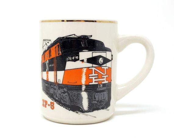 Vintage Train Mug New Haven Railroad EP-5 Black Orange Locomotive Country Trains © Franks Evans BB Beige Ceramic Gold Rim Train Collectible