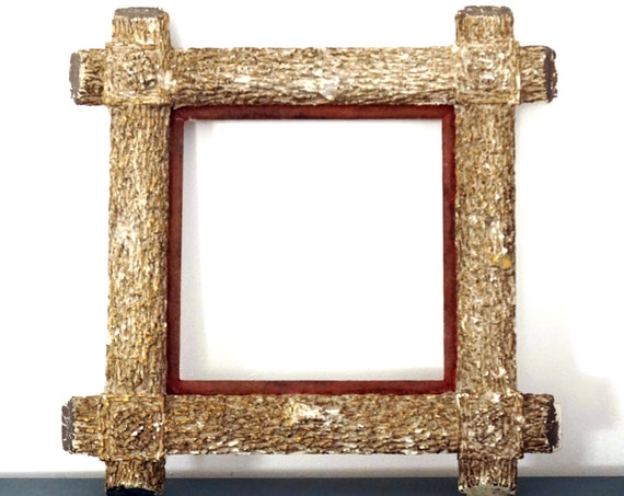 Antique Adirondack Frame Plaster Wood Faux Bois Square Picture Frame Wood Grain Molded Gold Gilt Painted Rustic Heavy Wall Frame Rare Old