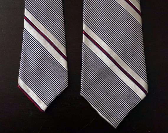 Vintage Tie Silver Red Diagonal Stripe Silk Necktie Schiaparelli Menswear Mid Century Narrow Tie Sold By B. Altman & Co.
