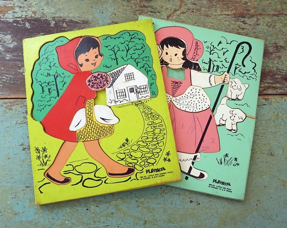 Vintage Wood Puzzles 1960s Playskool Red Riding Hood Illustration Puzzle Little Bo Peep Green Nursery Rhymes Board Puzzle Missing Pieces