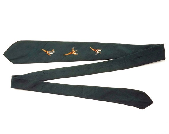 Vintage Abercrombie & Fitch Tie Pheasants Flying Embroidered on Silk Hunter Green Necktie 1960s Mid Century Menswear Marsh's Huntington NY