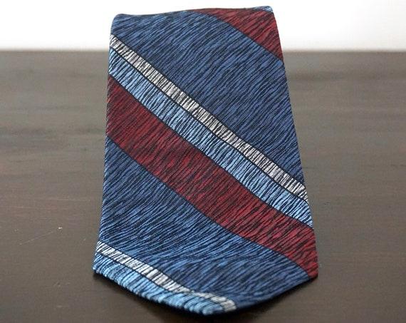 Vintage Silk Necktie Damon Blue and Brown Diagonal Stripe Tie Textured Mid Century Menswear 1960s Italian Silk Neck Tie