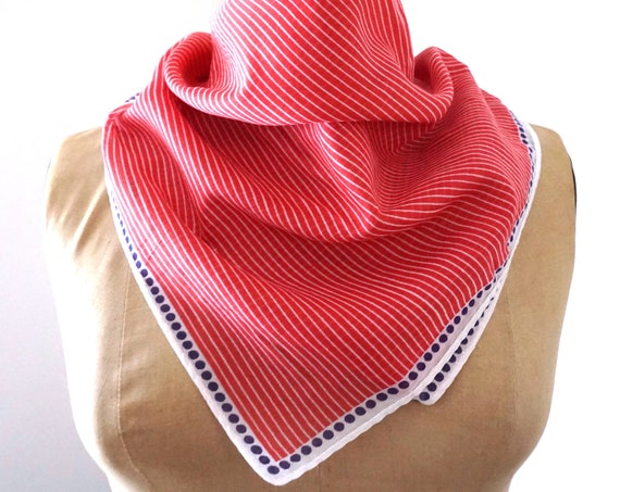 Vintage Red White Blue Scarf Calvin Klein Red Pinstripes White Border Navy Polka Dot Scarf Neck Scarf Hair Accessory Hand Rolled Edges