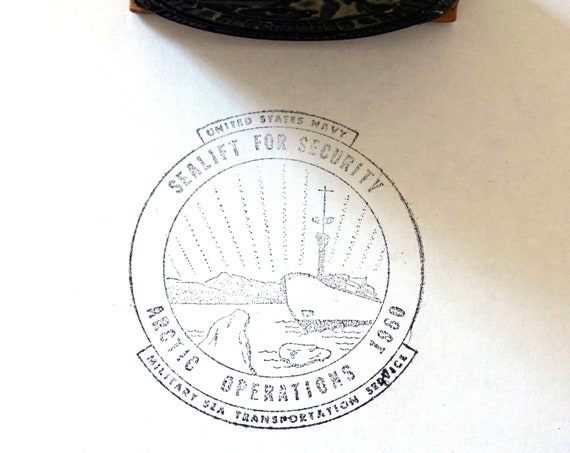 Vintage Rubber Stamp Arctic Operations 1960 Seal Logo US Navy Sea Lift For Security Military And Transportation Service Rare Ink Stamp