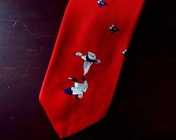 Vintage Ducks Tie Red  Embroidered Blue Waterfowl Mid Century Saks Fifth Avenue Menswear