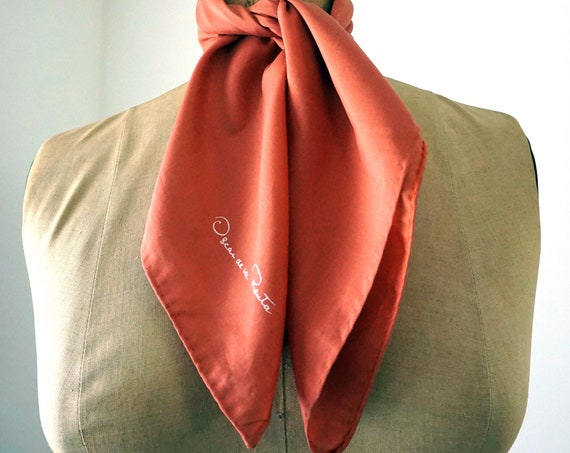 Vintage Burnt Sienna Scarf Silk Oscar de la Renta Scarf Square Lightweight Neck Scarf Hair Accessory Indian Red Fall Scarf Hand Rolled Edges
