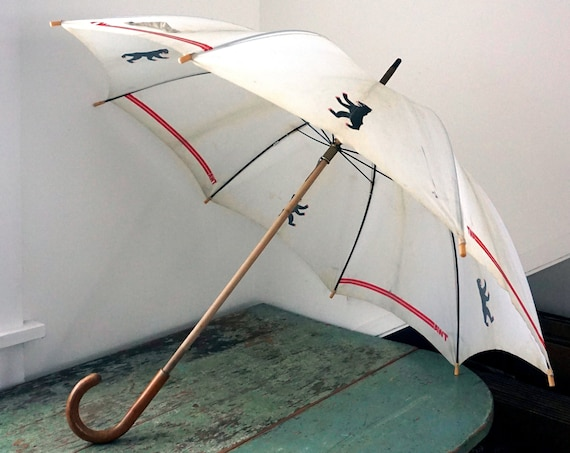 Vintage TWA Umbrella Black Bear Logo T.W.A. Collectible Trans World Airlines Parasol Wood Handle Made In Italy Rare Aviation Memorabilia 60s