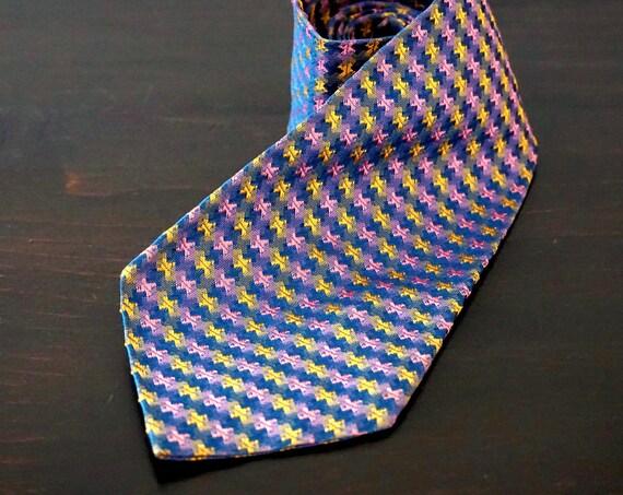Vintage Tie Pink Yellow Brocade Grey Blue Necktie Mid Century Repeating Check Pattern Rayon Acetate Pastel Colors Tie 60s Menswear Accessory