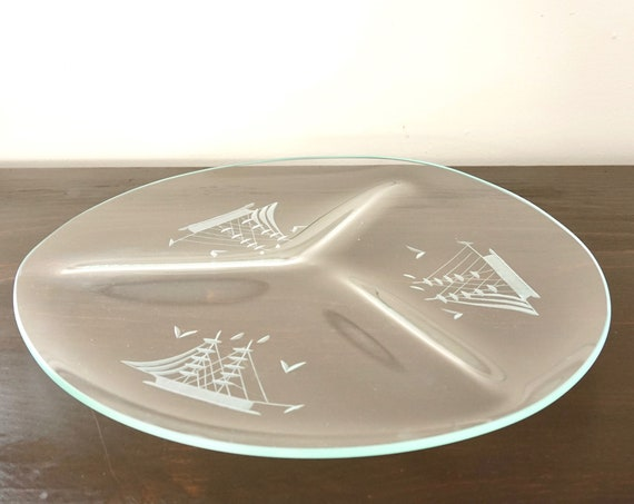 Vintage Glass Tray Etched Ships Round Divided Platter 3 Sections Molded Glass Frosted Tall Ship Motif Appetizer Server Schooner Boat Mast