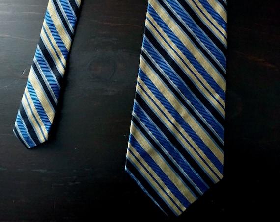 Vintage Necktie Blue Gold Black Olive Green Tie Diagonal Stripe Sheen Textured Fabric Neck Tie Wide Tie Tres Jolis Cravats