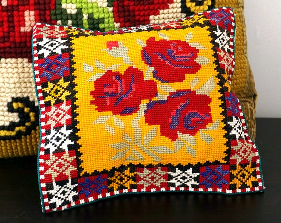 Vintage Needlepoint Pillow Cover Red Roses Yellow Ochre Black Blue Border Folk Art Eastern European Hand Sewn Case for Cushion Small 8 Inch
