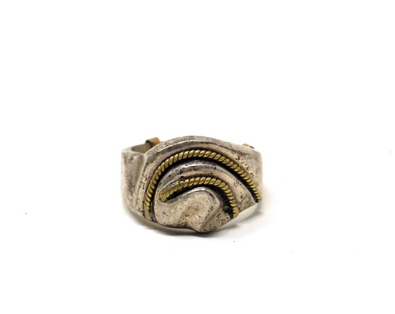 Vintage 925 Silver Ring Two Tone Chunky Band Ring Twisted Gold Washed Silver Rope Design Organic Shape Mexican Sterling Ring Size 9 Adjuster