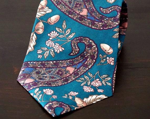 Vintage Silk Tie Teal Paisley Woodland Print Necktie Burgundy Blue Zylos George Machado Neck Tie Acorn Print Blue Green Purple Boteh Autumn