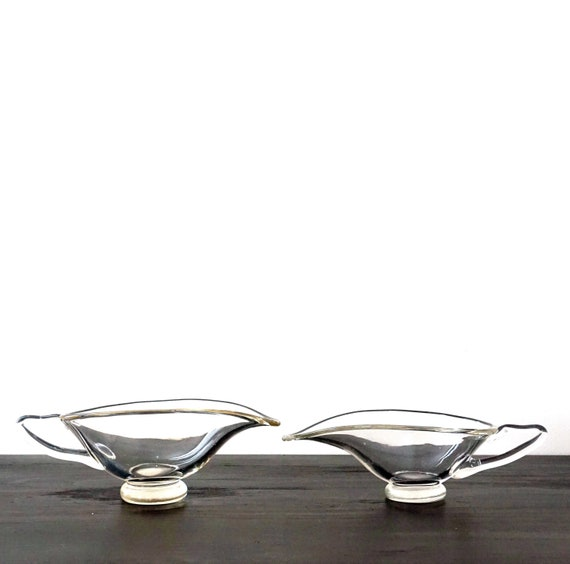 Vintage Gravy Boats Clear Glass Sauce Boats Pair Genie Lamp Leaf Shaped 2 Sizes Smooth Plain Glass Clear Stylized Handles 60s Mod Glassware