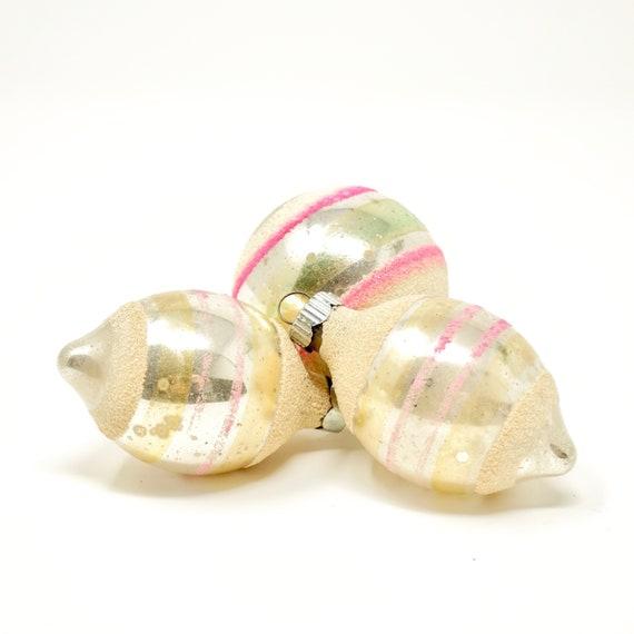 Vintage Shiny Brite Balls Silver White Mica Glitter Striped Silvered Ornaments Silver Pink 50s Shabby Trim Christmas Teardrop Balls Set of 3
