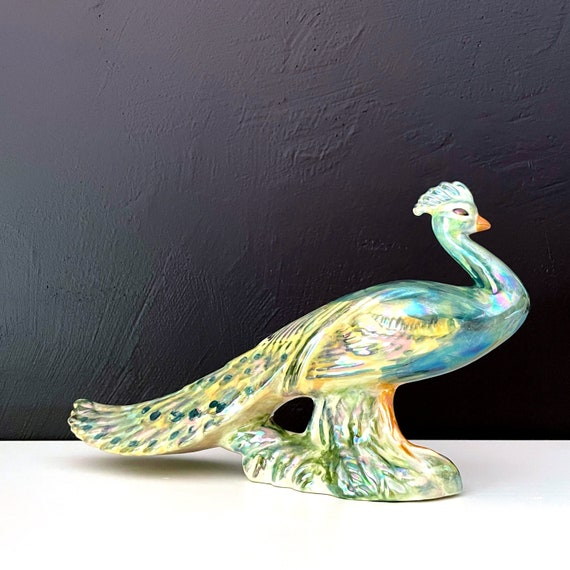 Vintage Peacock Figurine Ceramic Iridescent Pea Fowl Hand Painted Glazed Luster Turquoise Green Tail Feathers Rainbow Bird Symbol of Pride