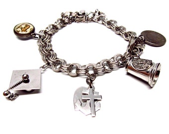 Vintage Charm Bracelet Collectible Silver Charms Hope Faith Charity Commemorative Class of 68 Cortland Graduation Mortarboard Charm Aries